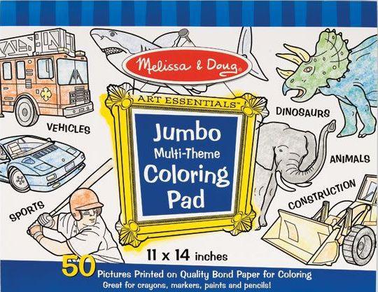 Melissa & Doug Jumbo Multi-Theme Colouring Pad - Blue - Curious Kids