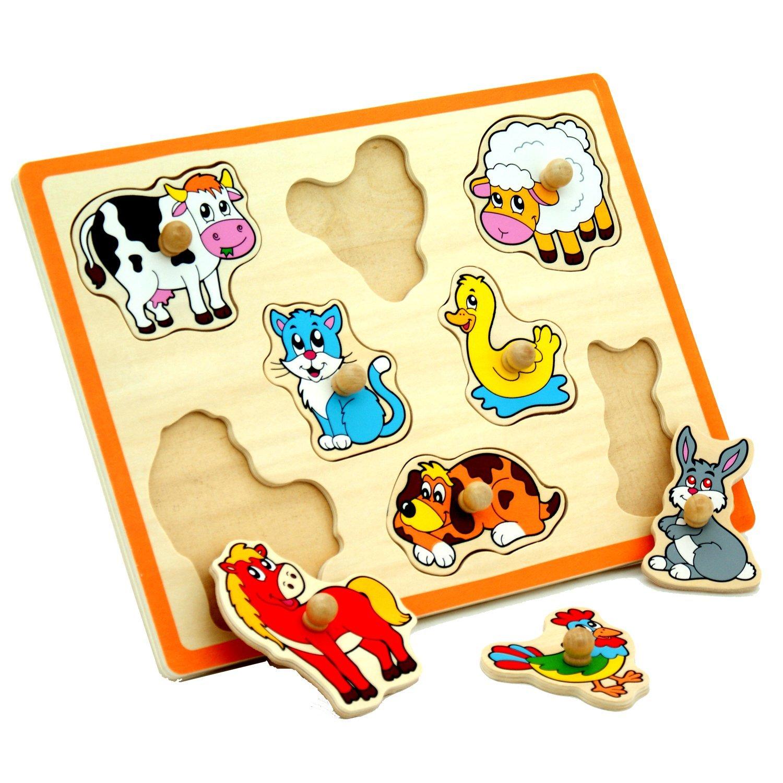 Wooden Knob Puzzle Farm Animals Curious Kids