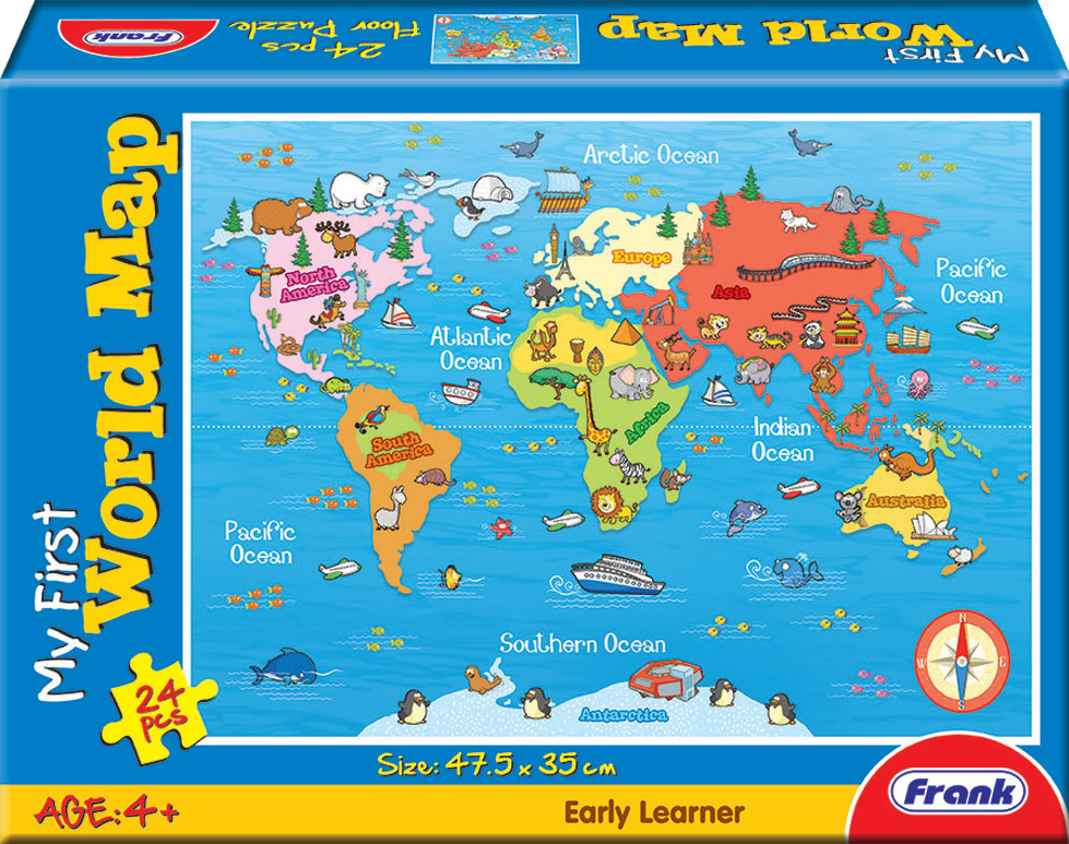 Frank 24 piece puzzle my first world map curious kids frank 24 piece puzzle my first world map gumiabroncs Gallery