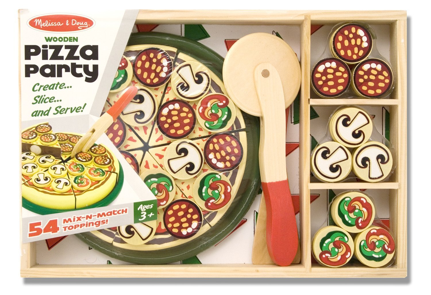 09766f3014b Melissa   Doug Pizza Party Wooden Play Food Set With 54 Toppings ...
