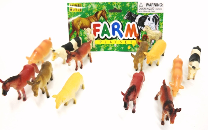 Animal World Farm Playset (12 Medium size animals in a bag) - Curious Kids