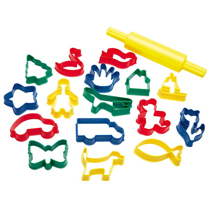 Play Dough Biscuit Cutter Set of 16 Plastic Assorted Shapes with a Rolling Pin